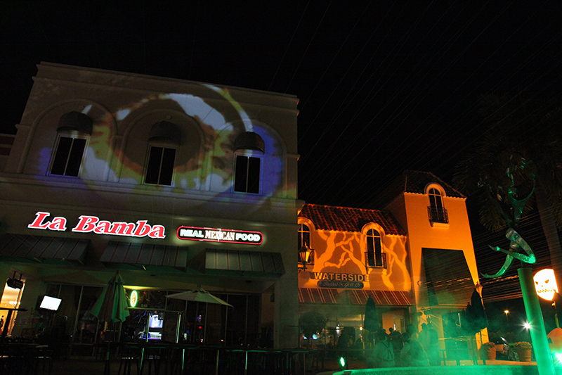 LaBambaWeen_LaBamba_Miromar_Halloween_Party_Front_Estero_FGCU_ProjectionMapping_gobos_lowsmoke_Naples_FtMyers_Lighting_Sound_Video